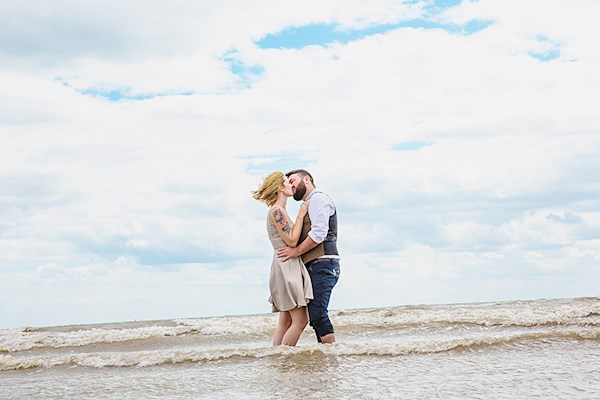 Couple taking a dip in the sea, photo by Lorna Lovecraft | Misfit Wedding