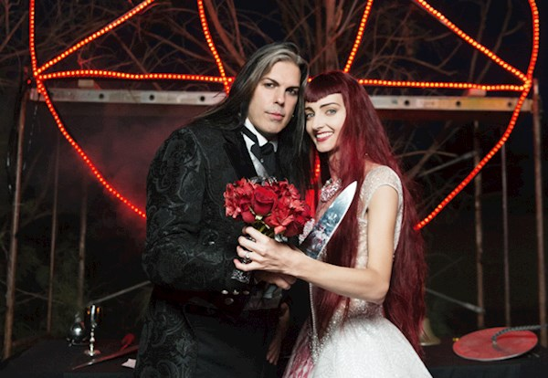 Bride and groom at their Satanist wedding ceremony | Misfit Wedding
