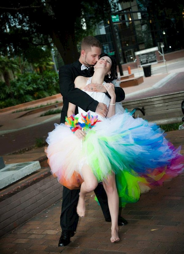 Rainbow wedding dress from Sparklefide | Misfit Wedding
