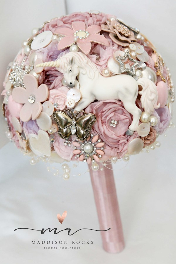 Unicorn themed bridal bouquet from Maddison Rocks | Misfit Wedding