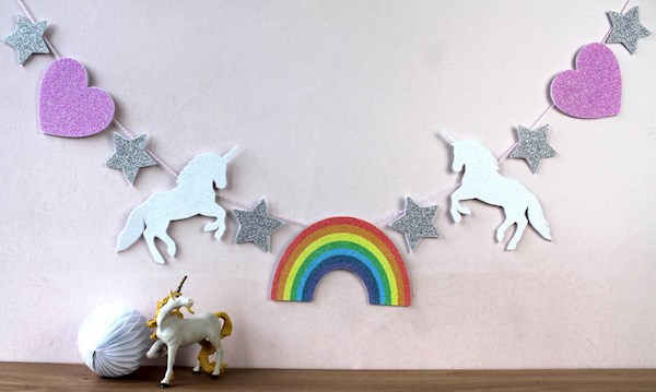 Unicorn and Rainbow garland from nickynackynoo | Misfit Wedding