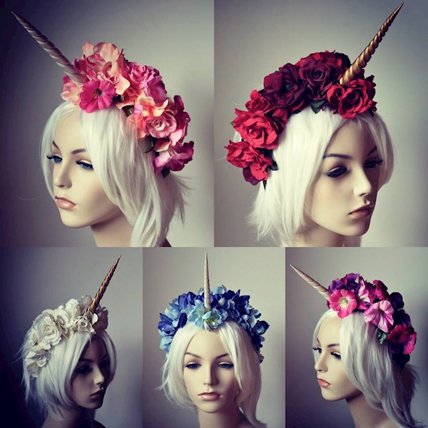 Unicorn horn floral bridal crown headdresses from Serpent Feathers | Misfit Wedding