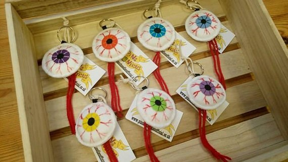 Eyeball keyrings, alternative wedding favours from Pins & Needles | Misfit Wedding