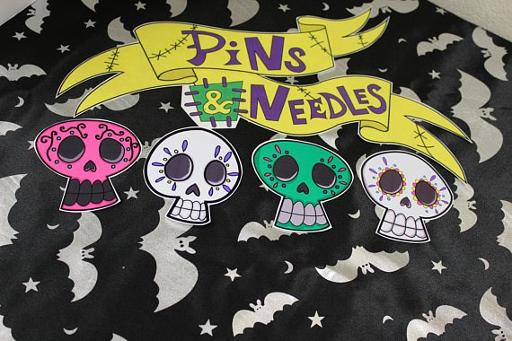 Day of the Dead skull stickers from Pins & Needles | Misfit Wedding