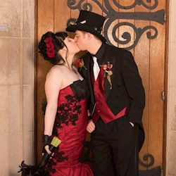 Joelle & Jarred's Red & Black Gothic Steampunk Wedding