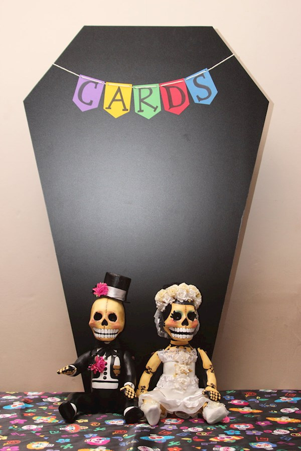 Day of the Dead DIY wedding cards table.