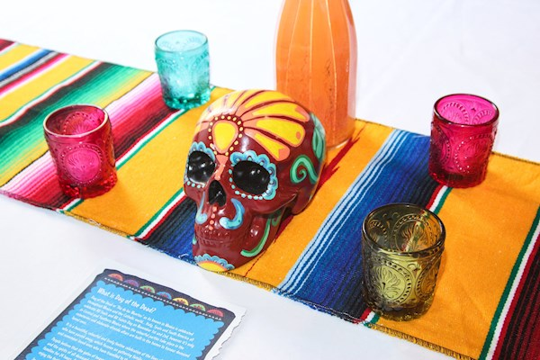 Day of the Dead themed wedding skull centrepiece