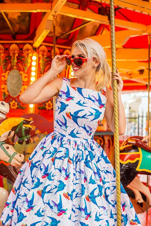Bacause I'm Happy, bluebirds and flowers vintage print dress from Sarsparilly | Misfit Wedding