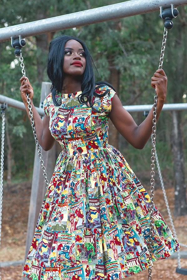 Comicbook superhero print swing dress from Sarsparilly | Misfit Wedding