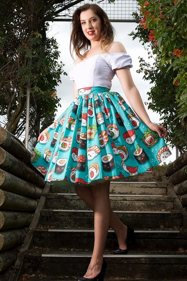 Quirky sushi print skirt from Sarsparilly | Misfit Wedding