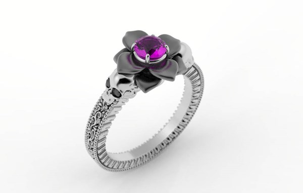 Pretty flower and skull engagement ring from Alien Forms | Misfit Wedding