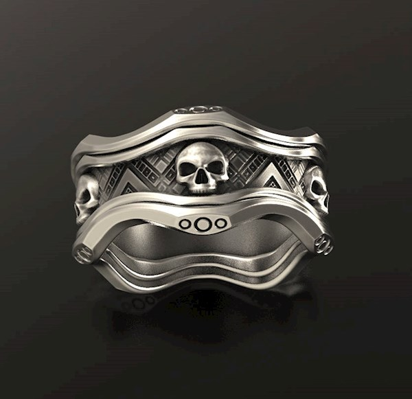 Sc-fi biker men's skull ring from Alien Forms | Misfit Wedding