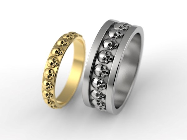 His and hers skeull wedding band set from Alien Forms   Misfit Wedding