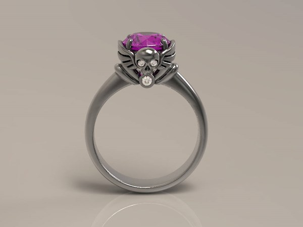 Winged skull Gothic engagement ring from Alien Forms   Misfit Wedding