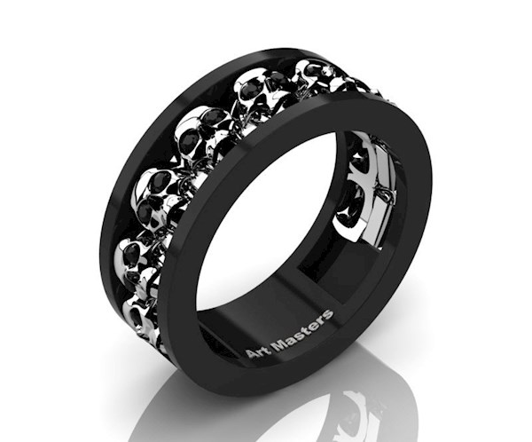 Mens Black and Whit Gold wedding band from Design Masters | Misfit Wedding