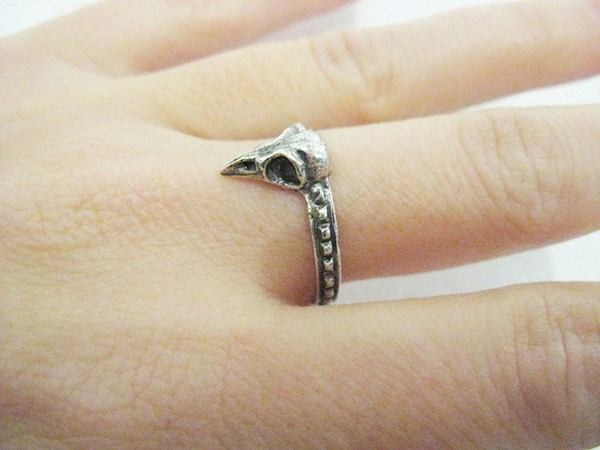 Silver bird skull ring from Blue Bayer Design NYC | Misfit Wedding
