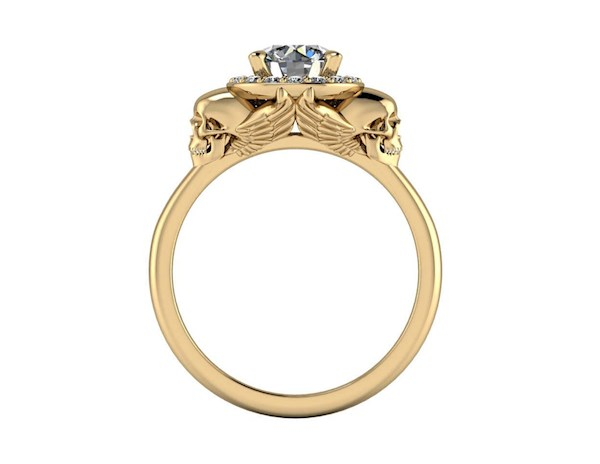 Winged skull halo engagement ring from By Grace Jewels   Misfit Wedding