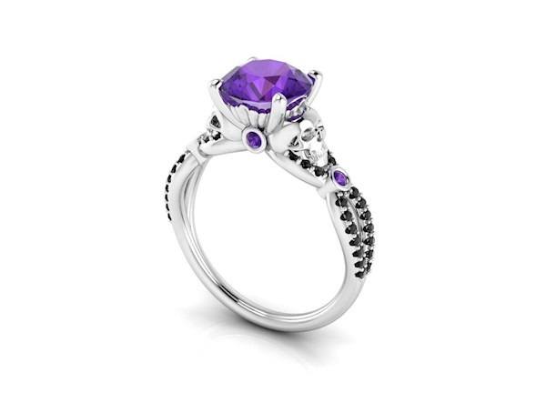Floral skull engagement ring with amethyst and black diamonds from By Grace Jewels | Misfit Wedding