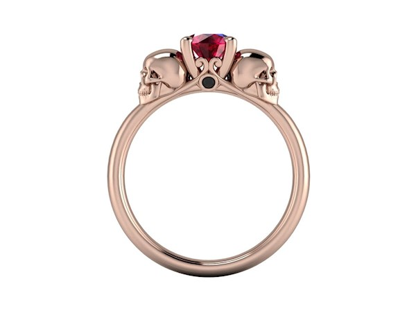 Vampire inspired skull solitaire ring from By Grace Jewels