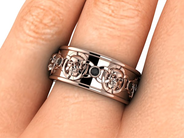 Men's skulls and celtic knots wide wedding band from By Grace Jewels   Misfit Wedding