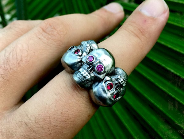Three Skulls Diamond Eyes Anarchy Pirate Ring from DeMer Jewelry | Misfit Wedding
