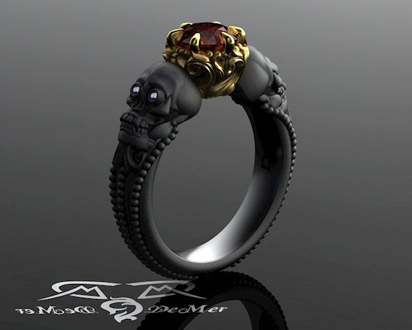 Black gold skull engagement ring from DeMer Jewelry | Misfit Wedding