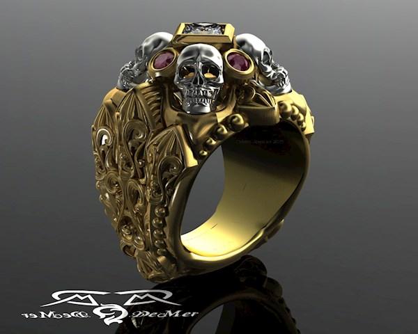 Gothic memento mori rockstar ring from DeMer Jewelry   Misfit Wedding