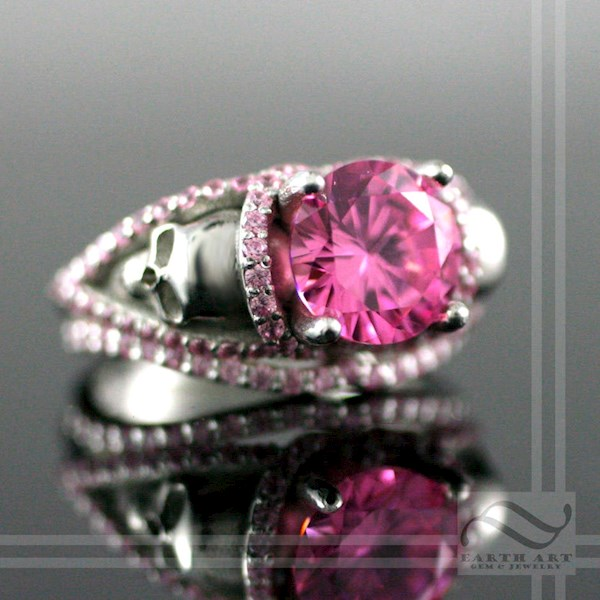 Pink skull engagement ring from Earth Art Gem & Jewelry   Misfit Wedding
