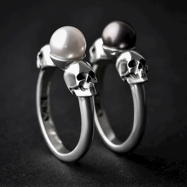 White or Black pearl and skulls alternative goth bride wedding rings from NADesignsStore | Misfit Wedding