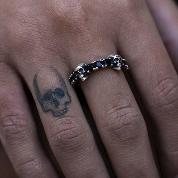 Handmade skull and black Zircon ring from NA Designs Store   Misfit Wedding