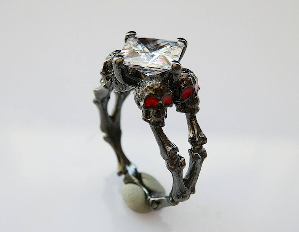 Skulls and bones gothic black engagement ring from PMD   Misfit Wedding