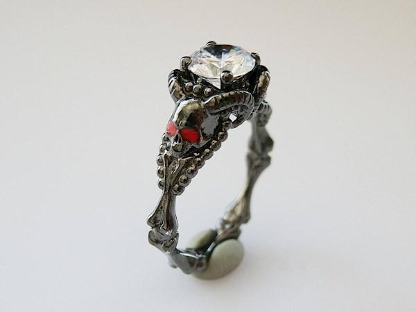 Horned skull satanist engagement ring from PMD   Misfit Wedding