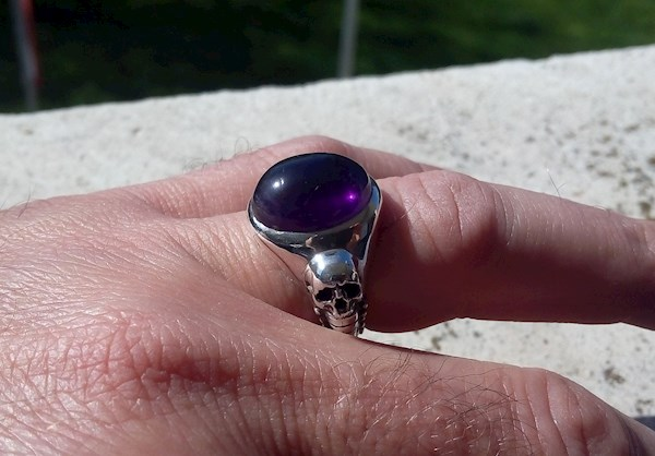 HR Giger influenced large garnet ring from Silveralexa | Misfit Wedding