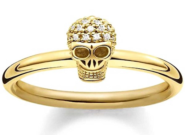 Gold plated Diamond skull ring from Thomas Sabo | Misfit Wedding