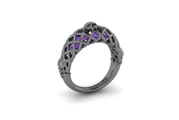 Three skull engagement ring from Until Death Inc   Misfit Wedding