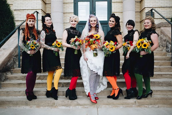Halloween Bridesmaid Costumes.Welcome To The Mad Wedding With Liz And Josh Misfit Wedding
