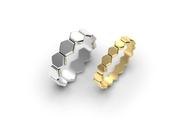 His and Hers Hexagon Wedding Ring Set from Alien Forms | Misfit Wedding