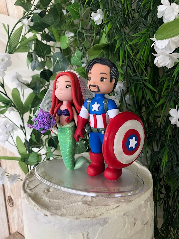 Little Mermaid and Superhero custom wedding caketopper from Playcraft | Misfit Wedding