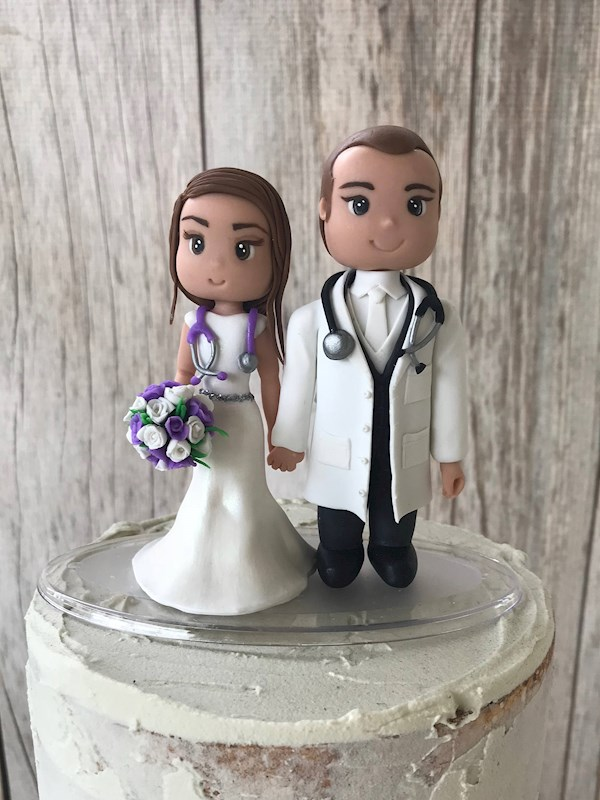 Doctor and Nurse custom caketopper from Playcraft | Misfit Wedding