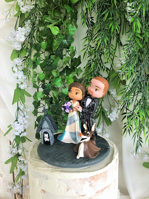 Nightmare Before Christmas handmade personalised wedding caketopper from Playcraft | Misfit Wedding