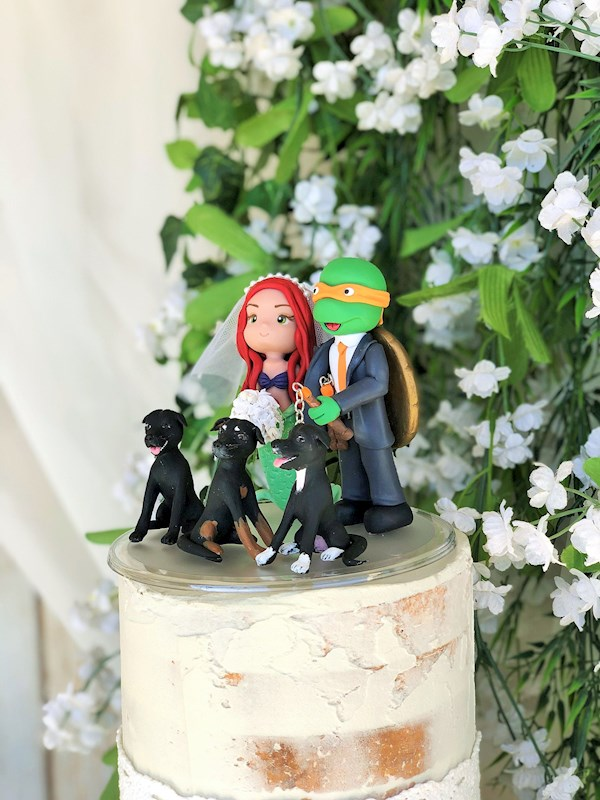 Ariel and Ninja Turtle custom caketopper from Playcraft | Misfit Wedding