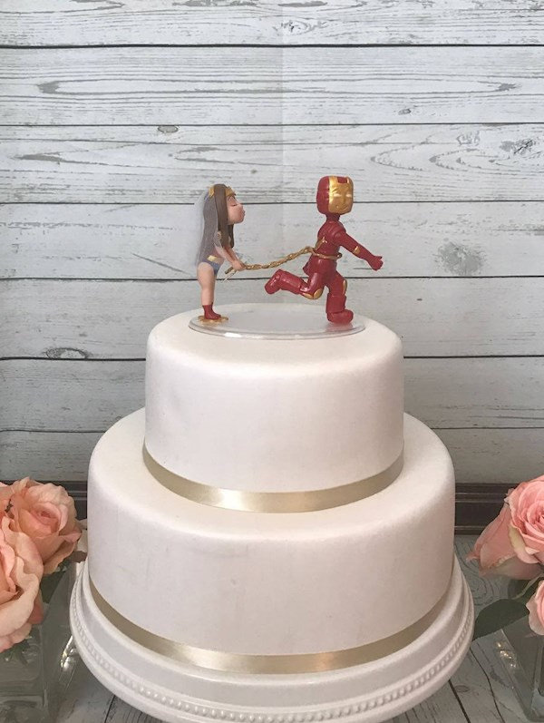 Wonder Woman and Iron Man Super Hero caketopper from Playcraft | Misfit Wedding